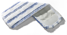 40cm Wet Nylo Stripe Microfibre Pocket Mop Elastic (10 Pack) - Blue